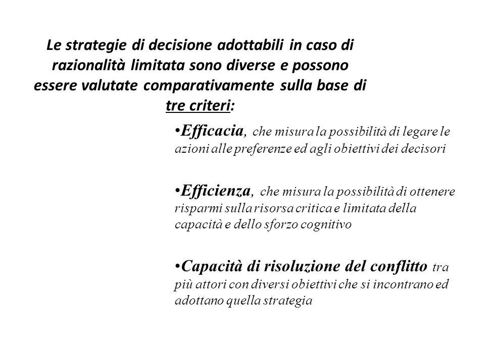 Le strategie di decisione adottabili in caso di razionalità limitata sono diverse e possono essere valutate comparativamente sulla base di tre criteri