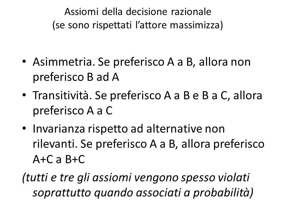 Assiomi della decisione razionale (se sono rispettati l'attore massimizza) Asimmetria. Se preferisco A a B, allora non preferisco B ad A Transitività.