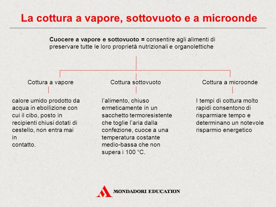 La cottura a vapore, sottovuoto e a microonde Cuocere a vapore e sottovuoto = consentire agli alimenti di preservare tutte le loro proprietà nutrizion