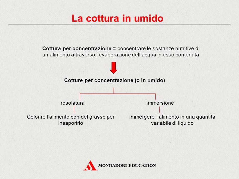 La cottura in umido Cottura per concentrazione = concentrare le sostanze nutritive di un alimento attraverso l'evaporazione dell'acqua in esso contenu