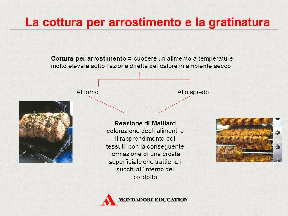 La cottura per arrostimento e la gratinatura Cottura per arrostimento = cuocere un alimento a temperature molto elevate sotto l'azione diretta del cal