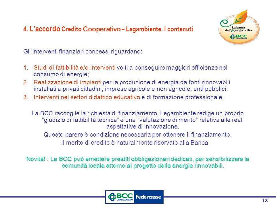 13 4. L'accordo Credito Cooperativo – Legambiente.