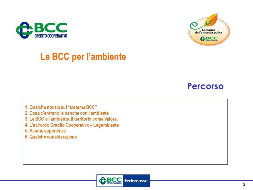 2 1. Qualche notizia sul sistema BCC 2. Cosa c'entrano le banche con l'ambiente 3.