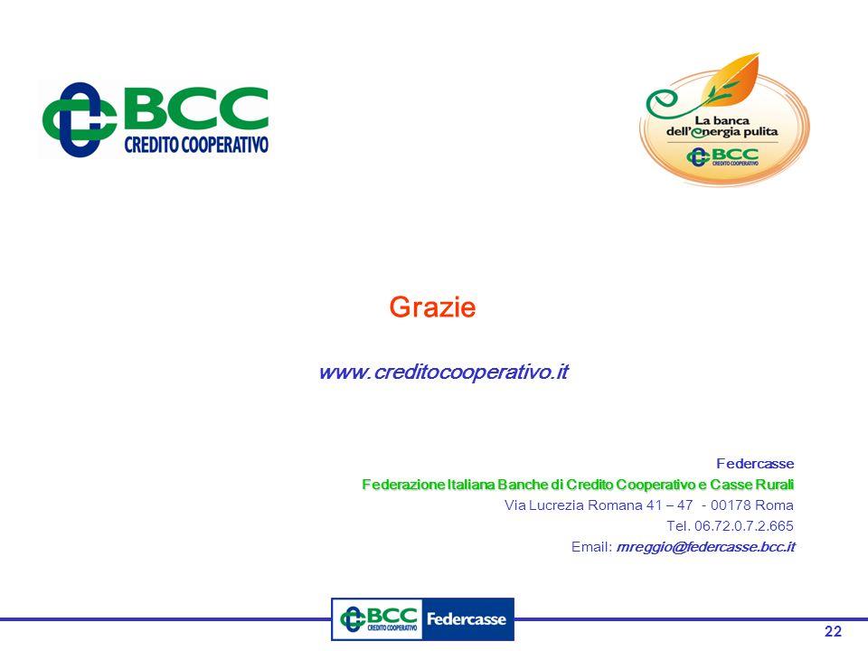 22 Grazie www.creditocooperativo.it Federcasse Federazione Italiana Banche di Credito Cooperativo e Casse Rurali Via Lucrezia Romana 41 – 47 - 00178 Roma Tel.