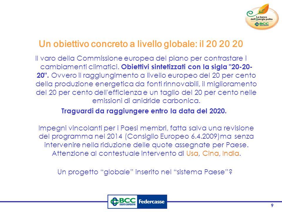 9 Un obiettivo concreto a livello globale: il 20 20 20 Il varo della Commissione europea del piano per contrastare i cambiamenti climatici.