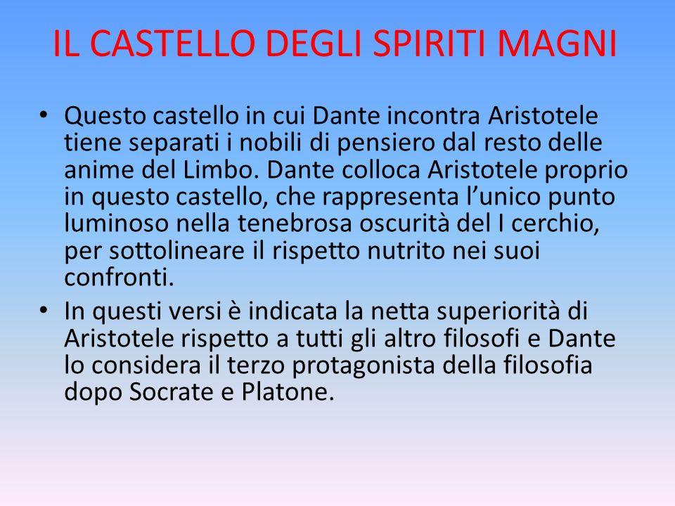 IL CASTELLO DEGLI SPIRITI MAGNI Questo castello in cui Dante incontra Aristotele tiene separati i nobili di pensiero dal resto delle anime del Limbo.
