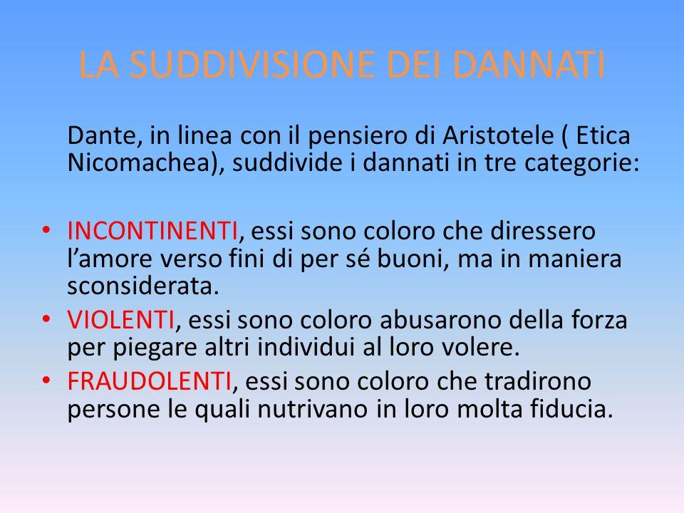 LA SUDDIVISIONE DEI DANNATI Dante, in linea con il pensiero di Aristotele ( Etica Nicomachea), suddivide i dannati in tre categorie: INCONTINENTI, ess