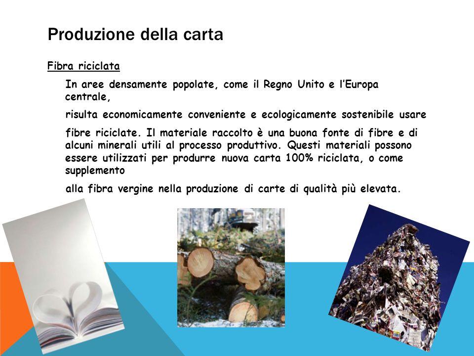 Produzione della carta Fibra riciclata In aree densamente popolate, come il Regno Unito e l'Europa centrale, risulta economicamente conveniente e ecol