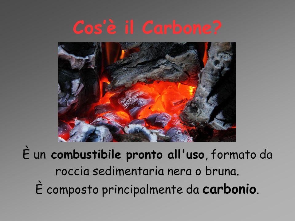 Cos'è il Carbone? È un combustibile pronto all'uso, formato da roccia sedimentaria nera o bruna. È composto principalmente da carbonio.