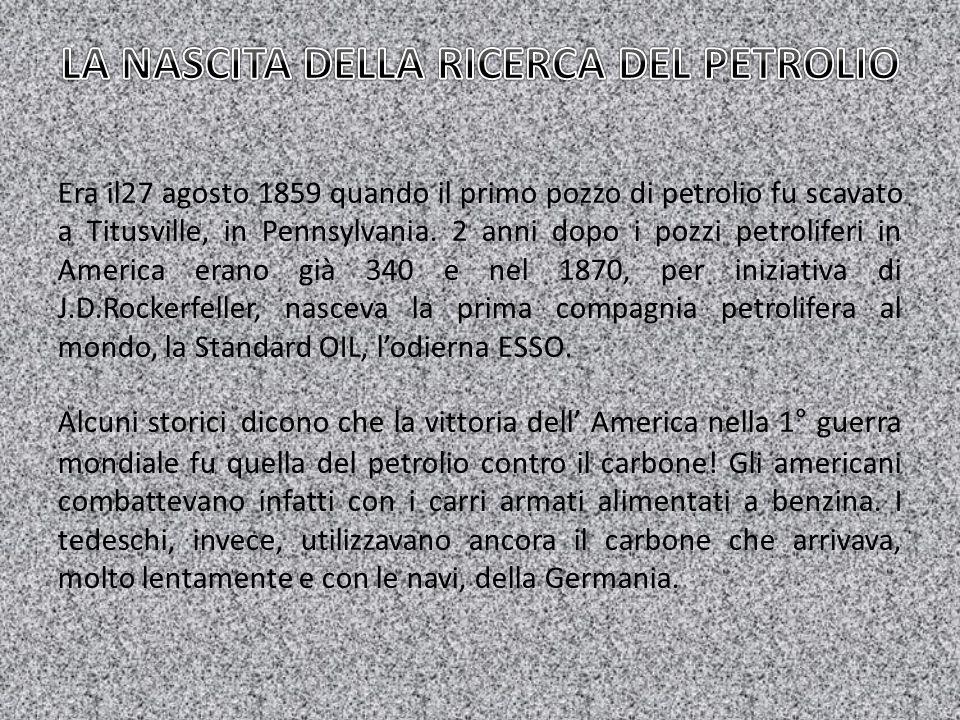 Era il27 agosto 1859 quando il primo pozzo di petrolio fu scavato a Titusville, in Pennsylvania. 2 anni dopo i pozzi petroliferi in America erano già