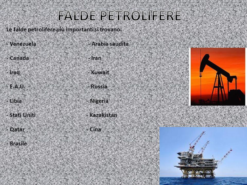 Le falde petrolifere più importanti si trovano: - Venezuela - Arabia saudita - Canada - Iran - Iraq - Kuwait - E.A.U. - Russia - Libia - Nigeria - Sta