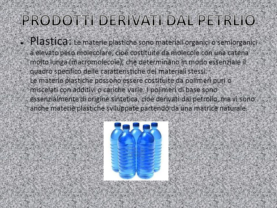 ● Plastica: Le materie plastiche sono materiali organici o semiorganici a elevato peso molecolare, cioè costituite da molecole con una catena molto lu