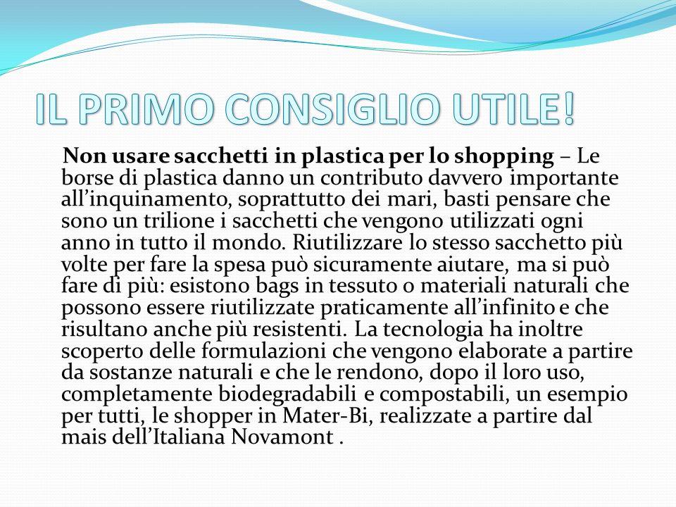 Non usare sacchetti in plastica per lo shopping – Le borse di plastica danno un contributo davvero importante all'inquinamento, soprattutto dei mari,