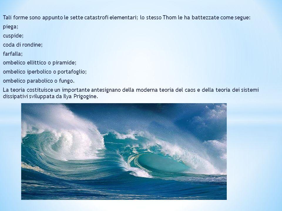 Tali forme sono appunto le sette catastrofi elementari; lo stesso Thom le ha battezzate come segue: piega; cuspide; coda di rondine; farfalla; ombelic