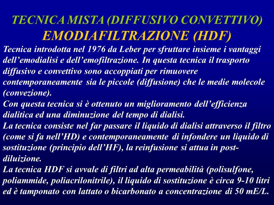 TECNICA MISTA (DIFFUSIVO CONVETTIVO) EMODIAFILTRAZIONE (HDF) Tecnica introdotta nel 1976 da Leber per sfruttare insieme i vantaggi dell'emodialisi e d