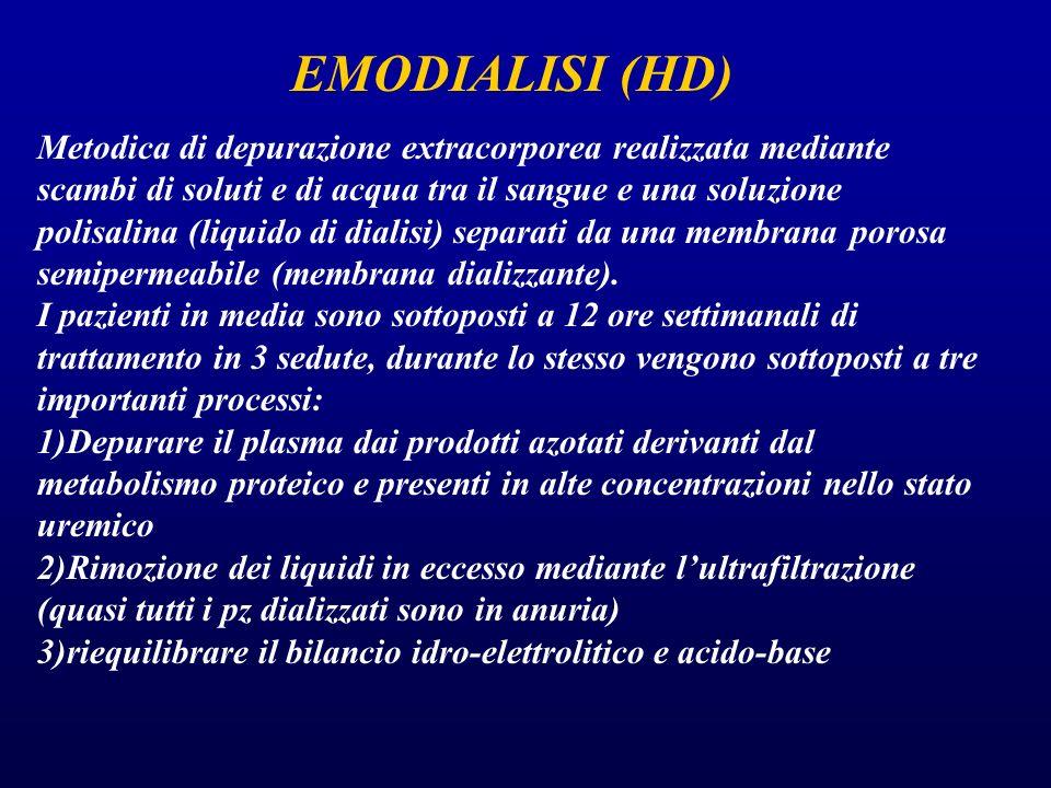 EMODIALISI (HD) Metodica di depurazione extracorporea realizzata mediante scambi di soluti e di acqua tra il sangue e una soluzione polisalina (liquid