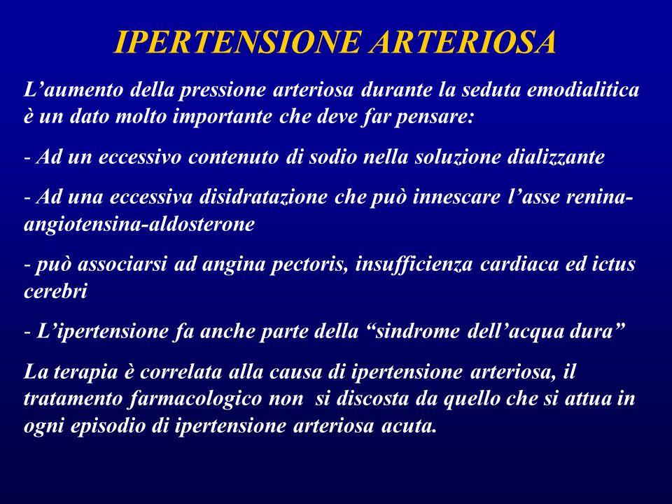 IPERTENSIONE ARTERIOSA L'aumento della pressione arteriosa durante la seduta emodialitica è un dato molto importante che deve far pensare: - Ad un ecc
