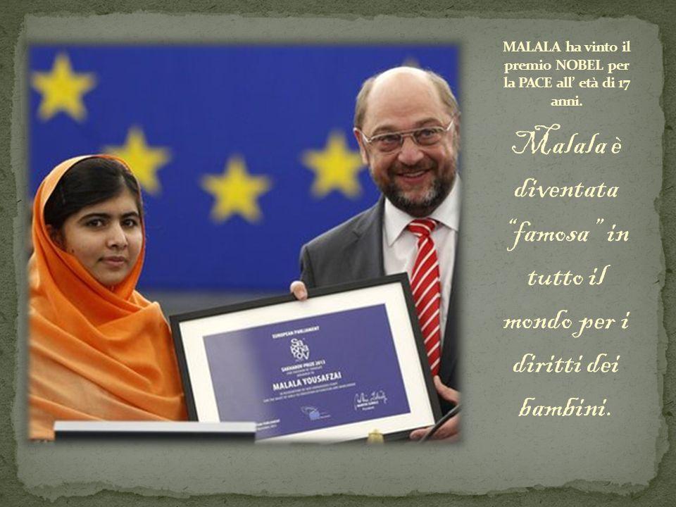 """Malala è diventata """"famosa"""" in tutto il mondo per i diritti dei bambini."""