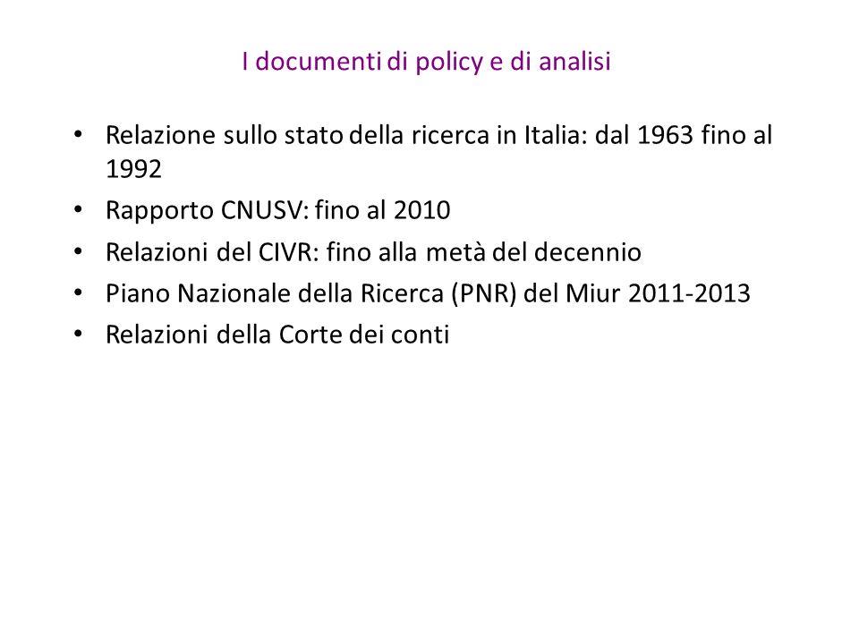 I documenti di policy e di analisi Relazione sullo stato della ricerca in Italia: dal 1963 fino al 1992 Rapporto CNUSV: fino al 2010 Relazioni del CIVR: fino alla metà del decennio Piano Nazionale della Ricerca (PNR) del Miur 2011-2013 Relazioni della Corte dei conti
