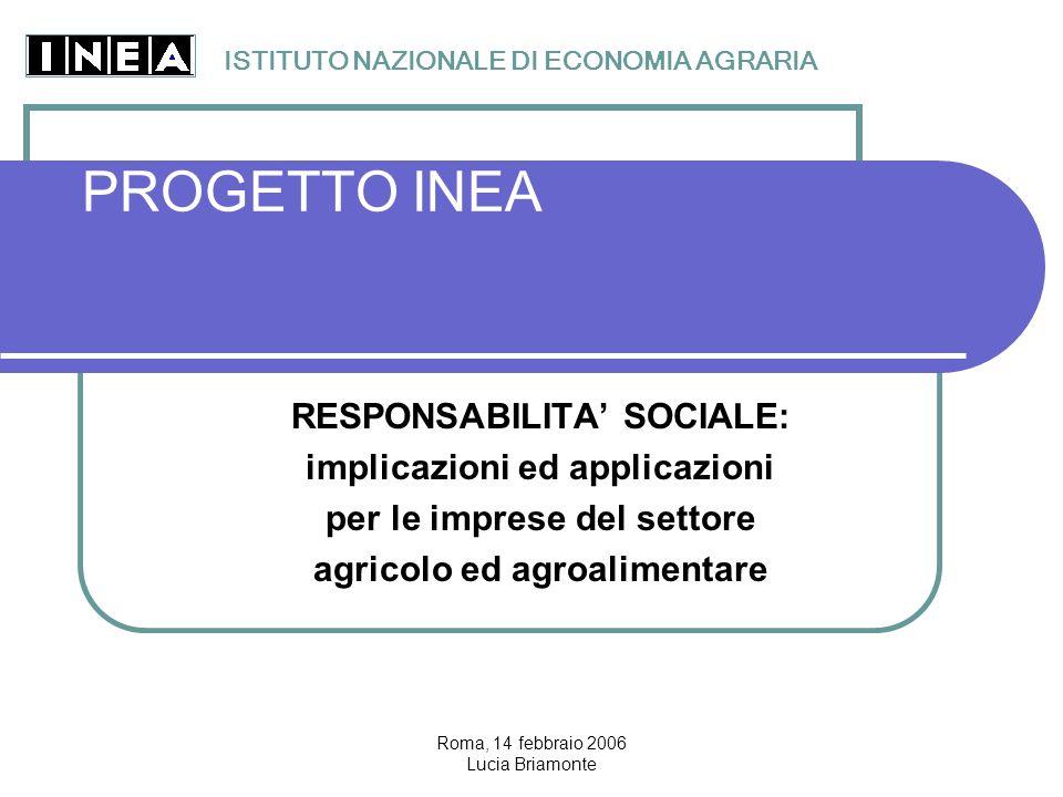 Roma, 14 febbraio 2006 Lucia Briamonte PROGETTO INEA RESPONSABILITA' SOCIALE: implicazioni ed applicazioni per le imprese del settore agricolo ed agroalimentare ISTITUTO NAZIONALE DI ECONOMIA AGRARIA