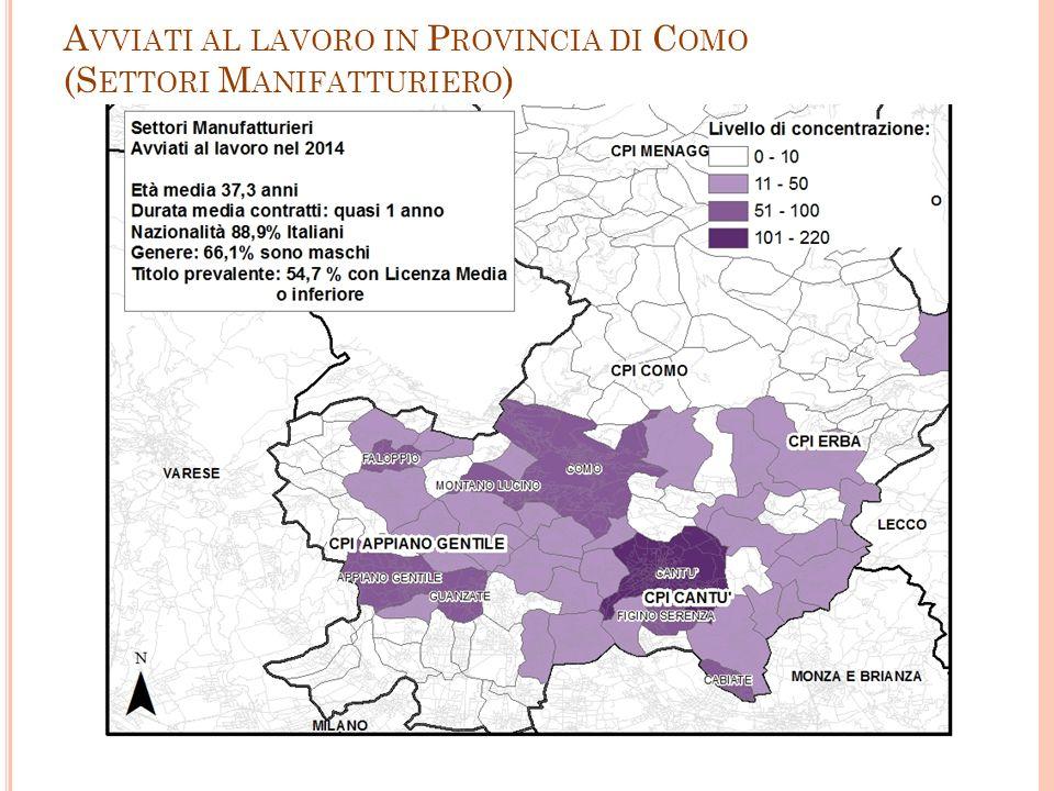 A VVIATI AL LAVORO IN P ROVINCIA DI C OMO (S ETTORI M ANIFATTURIERO ) 14