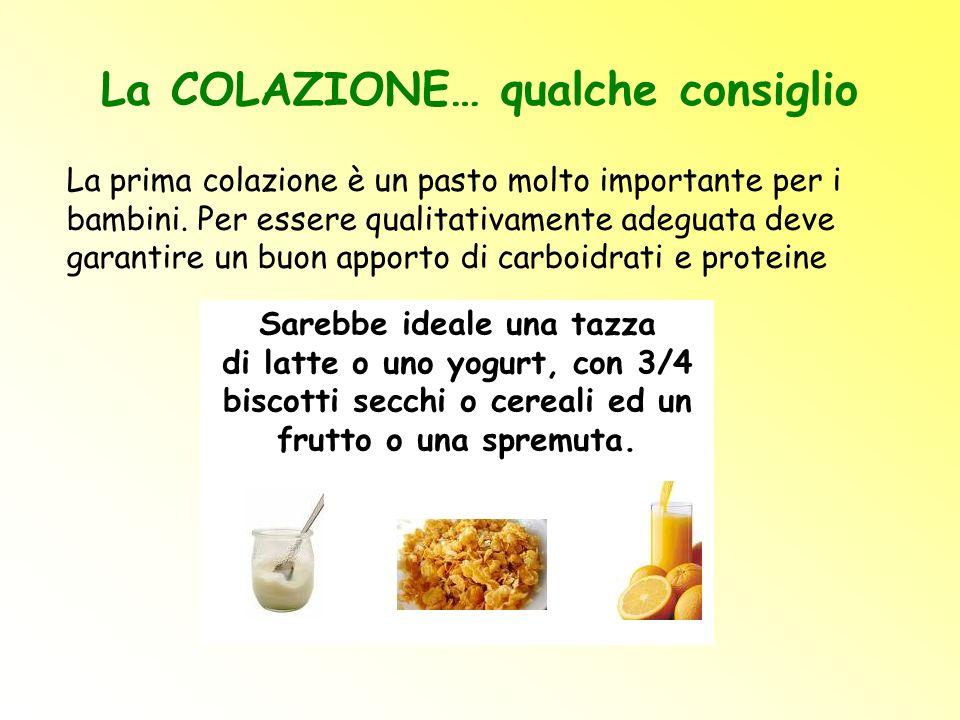 La COLAZIONE… qualche consiglio La prima colazione è un pasto molto importante per i bambini. Per essere qualitativamente adeguata deve garantire un b