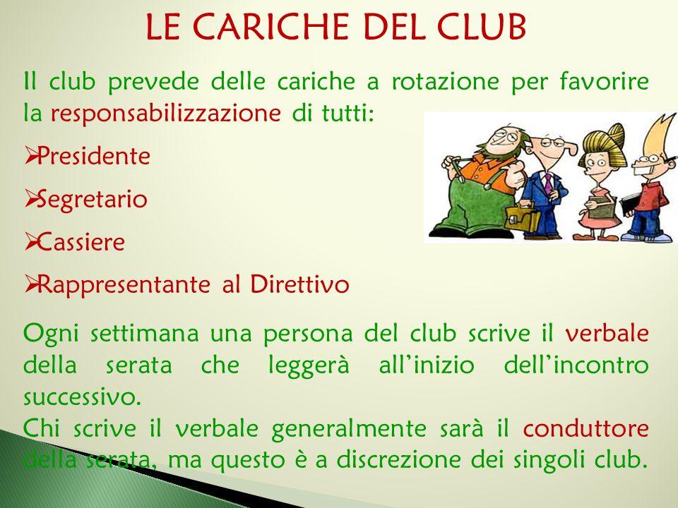 LE CARICHE DEL CLUB Il club prevede delle cariche a rotazione per favorire la responsabilizzazione di tutti:  Presidente  Segretario  Cassiere  Ra
