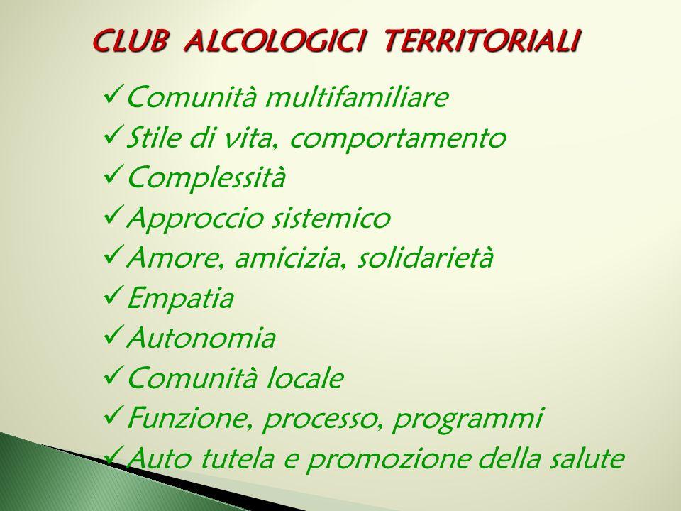 CLUB ALCOLOGICI TERRITORIALI Comunità multifamiliare Stile di vita, comportamento Complessità Approccio sistemico Amore, amicizia, solidarietà Empatia