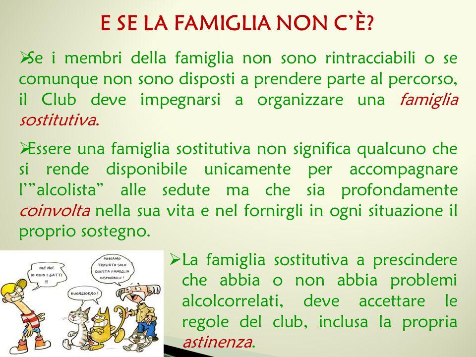  Se i membri della famiglia non sono rintracciabili o se comunque non sono disposti a prendere parte al percorso, il Club deve impegnarsi a organizzare una famiglia sostitutiva.