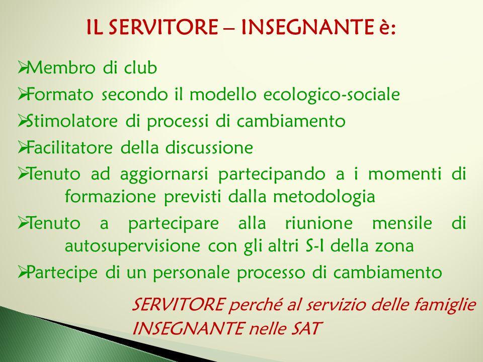 IL SERVITORE – INSEGNANTE è:  Membro di club  Formato secondo il modello ecologico-sociale  Stimolatore di processi di cambiamento  Facilitatore d