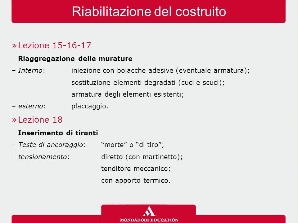 »Lezione 15-16-17 Riaggregazione delle murature – Interno:iniezione con boiacche adesive (eventuale armatura); sostituzione elementi degradati (cuci e