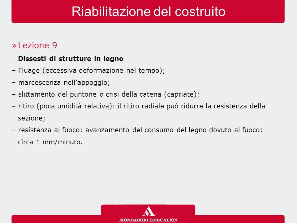 »Lezione 9 Dissesti di strutture in legno – Fluage (eccessiva deformazione nel tempo); – marcescenza nell'appoggio; – slittamento del puntone o crisi