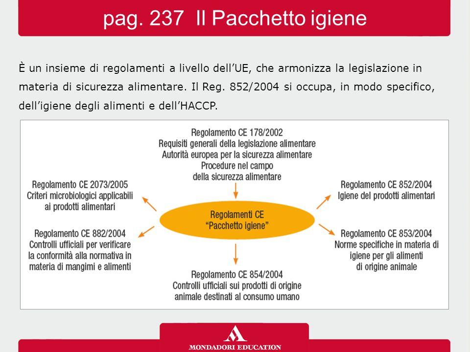 È un insieme di regolamenti a livello dell'UE, che armonizza la legislazione in materia di sicurezza alimentare. Il Reg. 852/2004 si occupa, in modo s