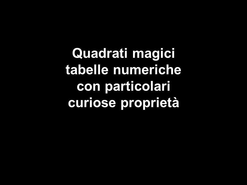 Quadrati magici tabelle numeriche con particolari curiose proprietà