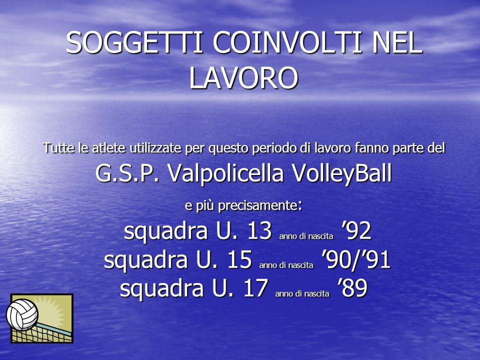 SOGGETTI COINVOLTI NEL LAVORO Tutte le atlete utilizzate per questo periodo di lavoro fanno parte del G.S.P. Valpolicella VolleyBall e più precisament