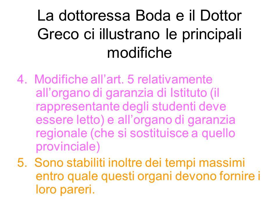 La dottoressa Boda e il Dottor Greco ci illustrano le principali modifiche 4.