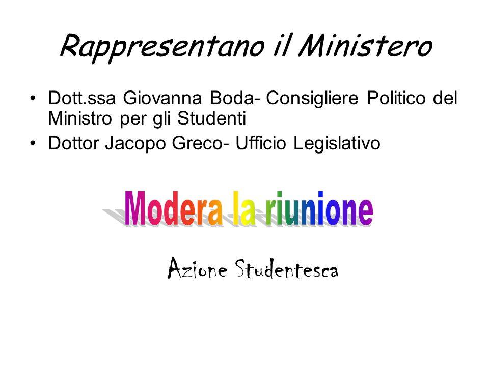 Rappresentano il Ministero Dott.ssa Giovanna Boda- Consigliere Politico del Ministro per gli Studenti Dottor Jacopo Greco- Ufficio Legislativo Azione Studentesca