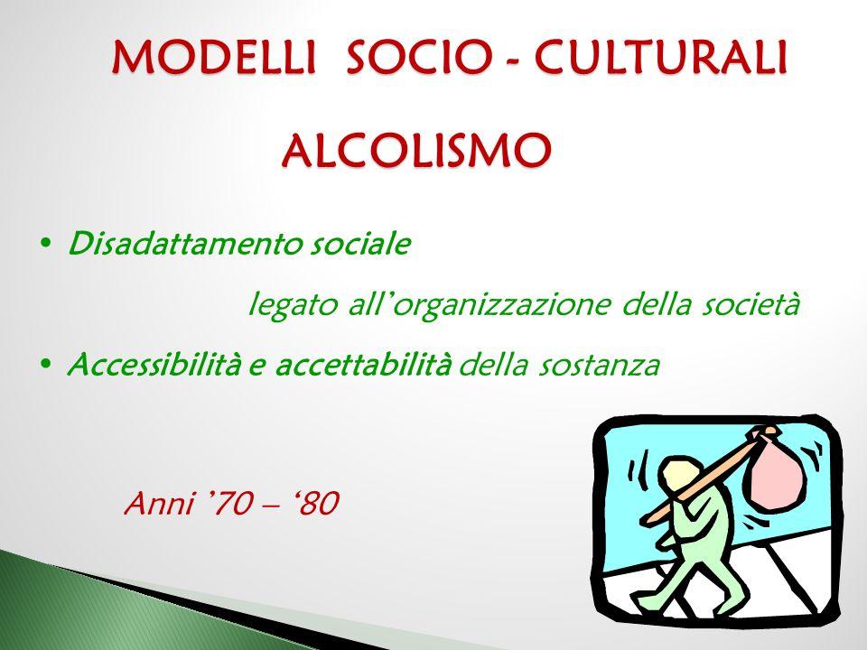 MODELLI SOCIO - CULTURALI ALCOLISMO Disadattamento sociale legato all'organizzazione della società Accessibilità e accettabilità della sostanza Anni '