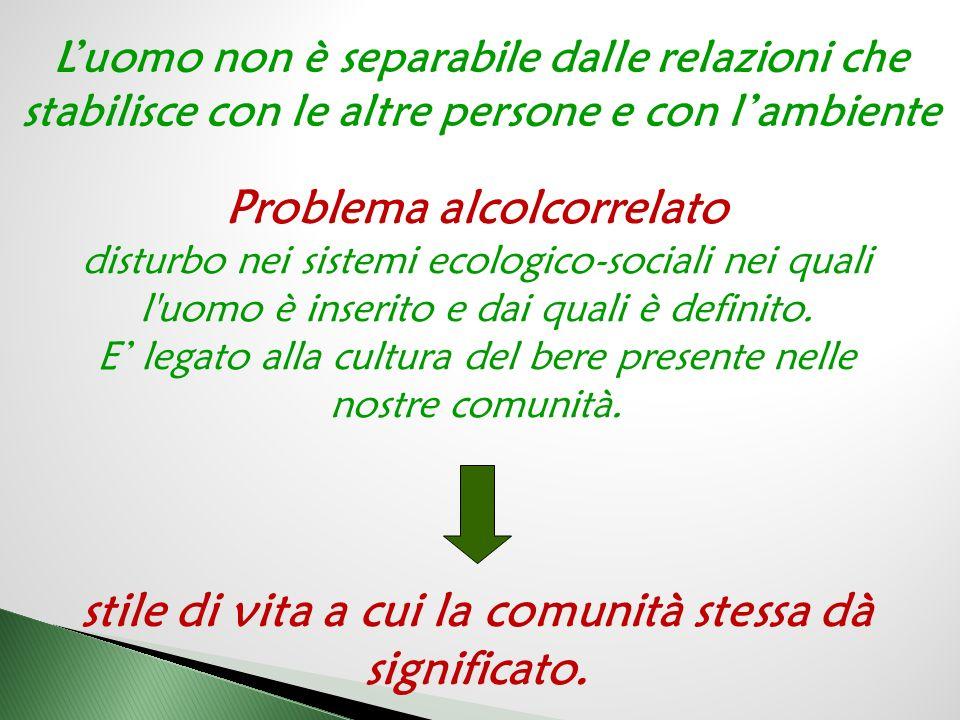 Problema alcolcorrelato disturbo nei sistemi ecologico-sociali nei quali l'uomo è inserito e dai quali è definito. E' legato alla cultura del bere pre