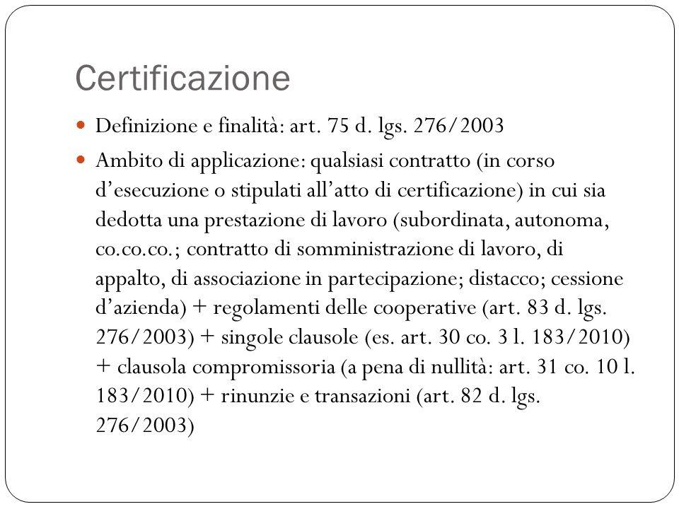Certificazione Definizione e finalità: art. 75 d. lgs. 276/2003 Ambito di applicazione: qualsiasi contratto (in corso d'esecuzione o stipulati all'att