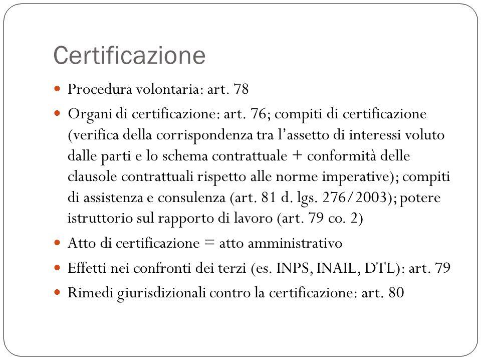 Certificazione Procedura volontaria: art. 78 Organi di certificazione: art. 76; compiti di certificazione (verifica della corrispondenza tra l'assetto