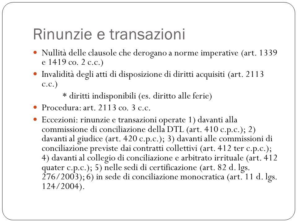 Rinunzie e transazioni Nullità delle clausole che derogano a norme imperative (art. 1339 e 1419 co. 2 c.c.) Invalidità degli atti di disposizione di d