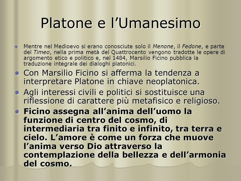 Platone e l'Umanesimo Mentre nel Medioevo si erano conosciute solo il Menone, il Fedone, e parte del Timeo, nella prima metà del Quattrocento vengono tradotte le opere di argomento etico e politico e, nel 1484, Marsilio Ficino pubblica la traduzione integrale dei dialoghi platonici.