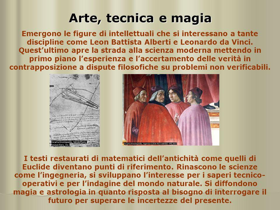 Arte, tecnica e magia Emergono le figure di intellettuali che si interessano a tante discipline come Leon Battista Alberti e Leonardo da Vinci. Quest'