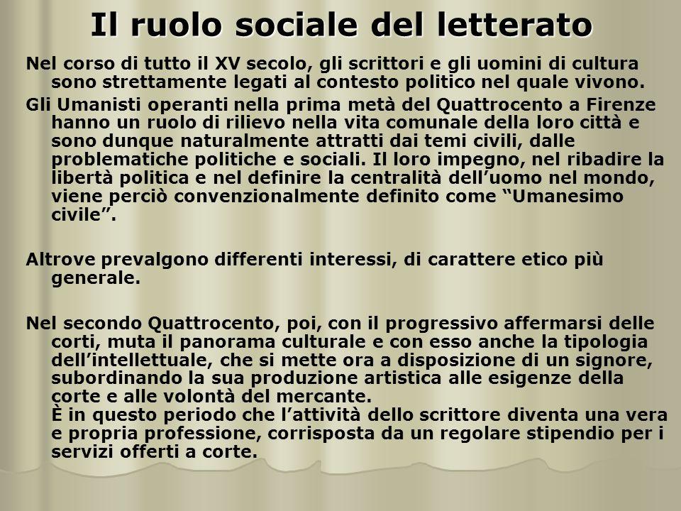 Il ruolo sociale del letterato Nel corso di tutto il XV secolo, gli scrittori e gli uomini di cultura sono strettamente legati al contesto politico nel quale vivono.