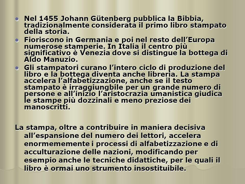 Nel 1455 Johann Gütenberg pubblica la Bibbia, tradizionalmente considerata il primo libro stampato della storia. Nel 1455 Johann Gütenberg pubblica la