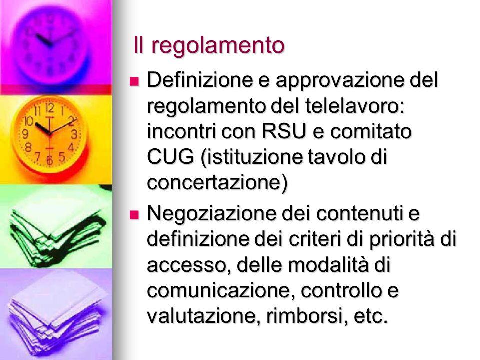 Il regolamento Definizione e approvazione del regolamento del telelavoro: incontri con RSU e comitato CUG (istituzione tavolo di concertazione) Defini