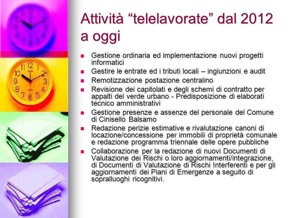 """Attività """"telelavorate"""" dal 2012 a oggi Gestione ordinaria ed implementazione nuovi progetti informatici Gestione ordinaria ed implementazione nuovi p"""