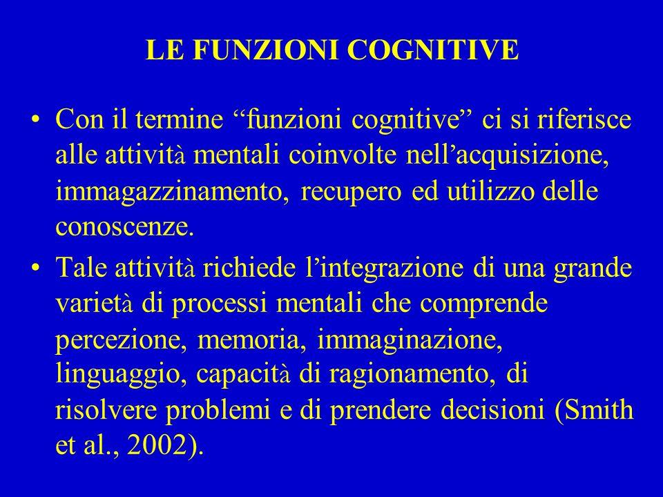 """LE FUNZIONI COGNITIVE Con il termine """" funzioni cognitive """" ci si riferisce alle attivit à mentali coinvolte nell ' acquisizione, immagazzinamento, re"""