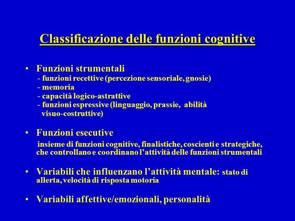 Classificazione delle funzioni cognitive Funzioni strumentali - funzioni recettive (percezione sensoriale, gnosie) - memoria - capacità logico-astratt